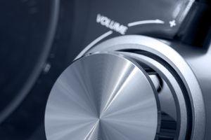 Close up of volume knob on surround sound system