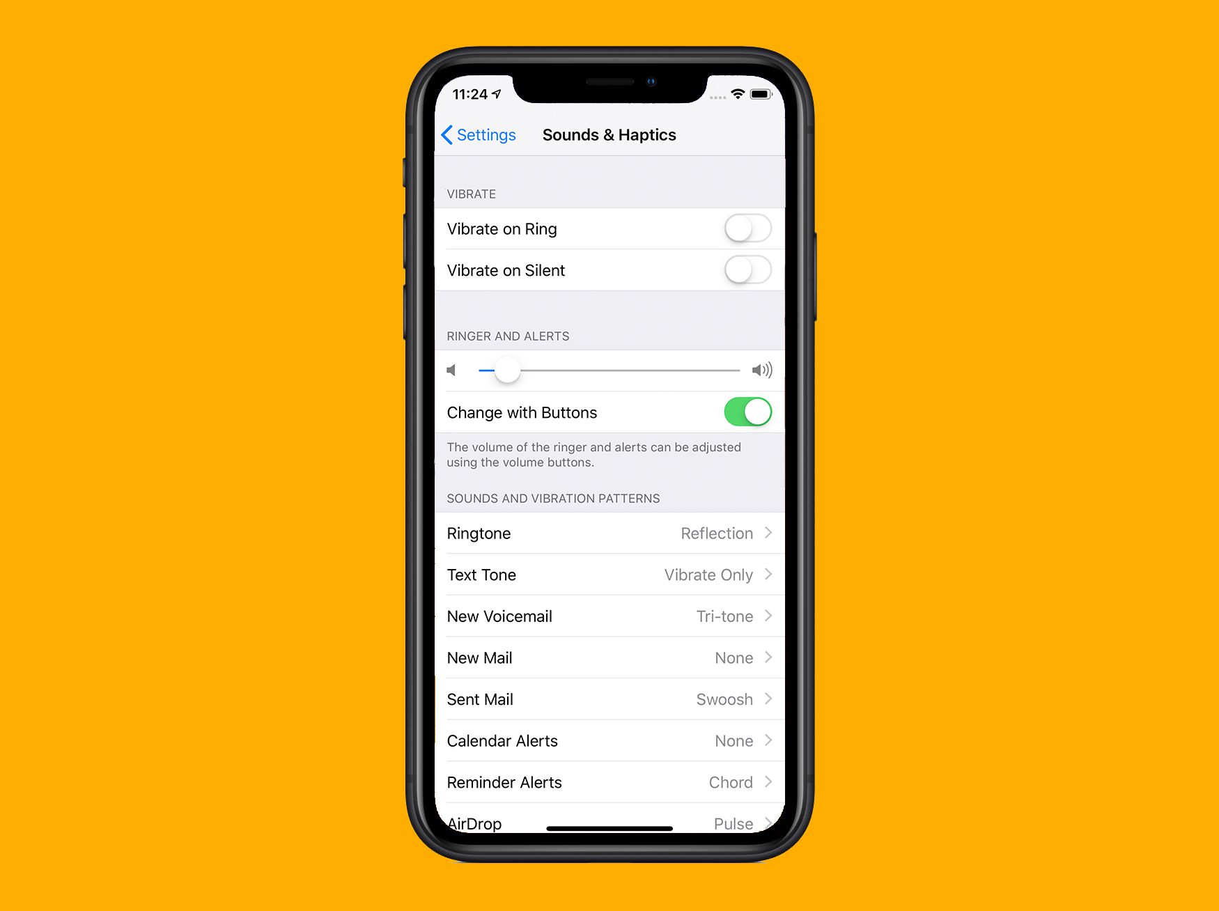 iOS Sounds & Haptics settings screen on iPhone X