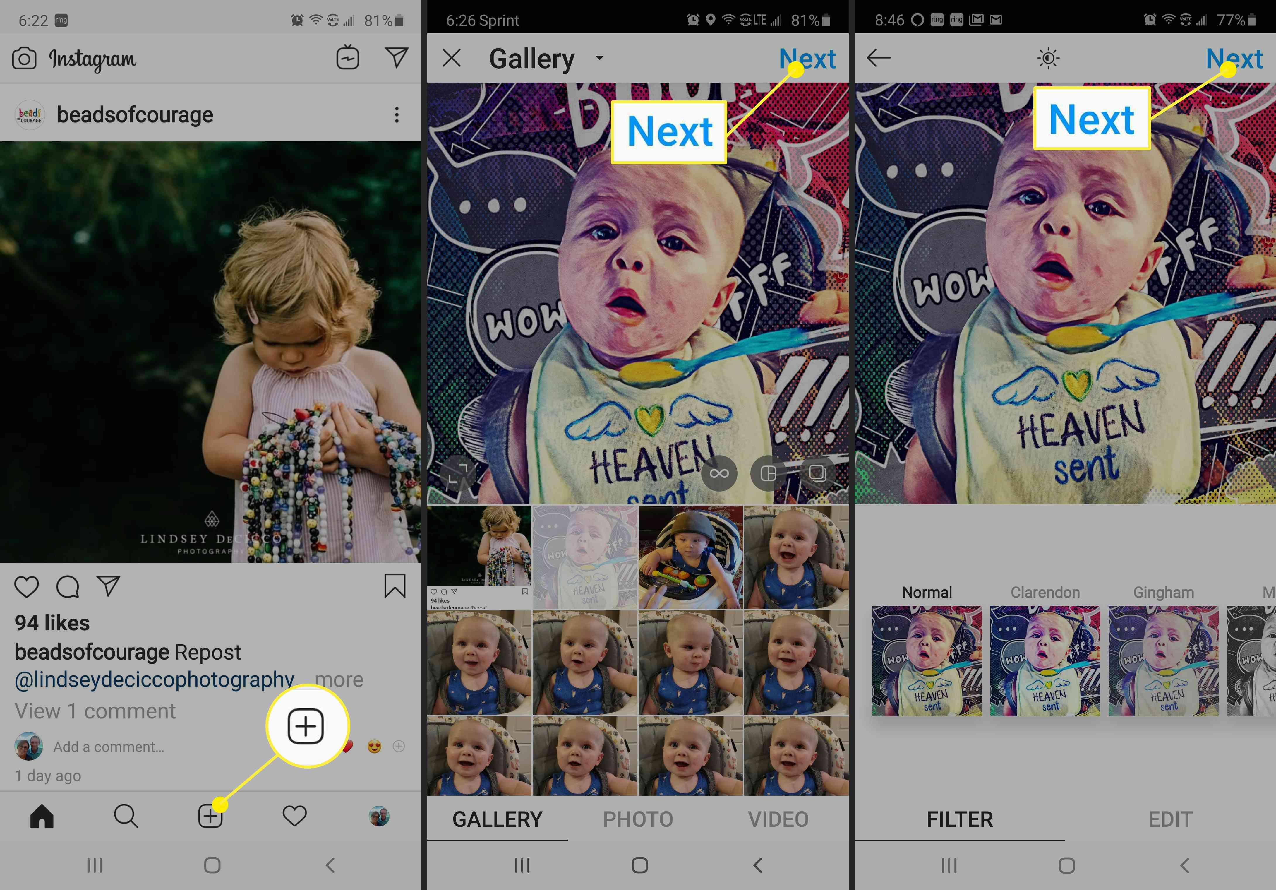 Screenshots of how to add a photo to Instagram.