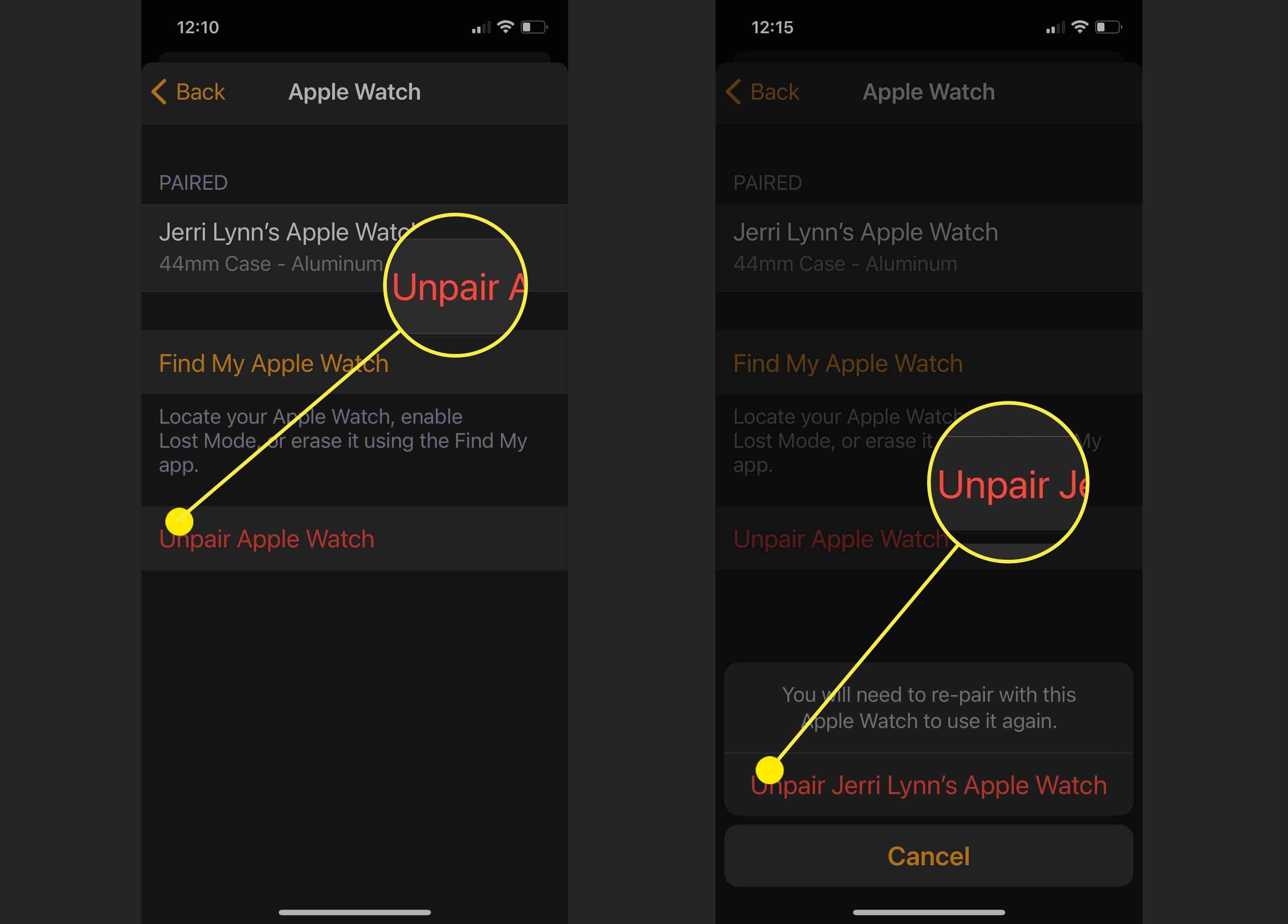 Screenshots showing how to Unpair an Apple Watch from an iPhone.