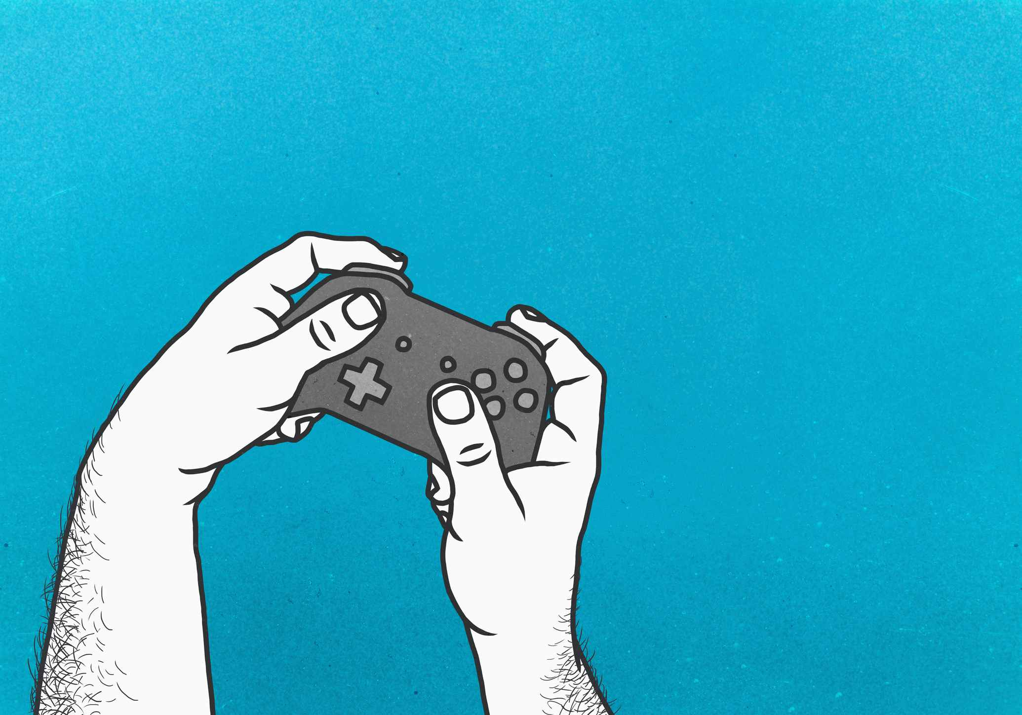 An illustration of a hands using a video game controller
