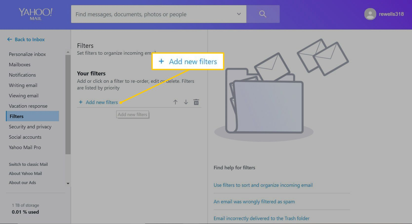 Add new filters button in Yahoo Mail