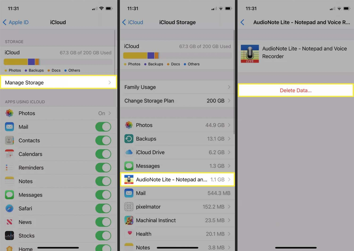 iCloud Storage and the option to delete data from an app on an iPhone.