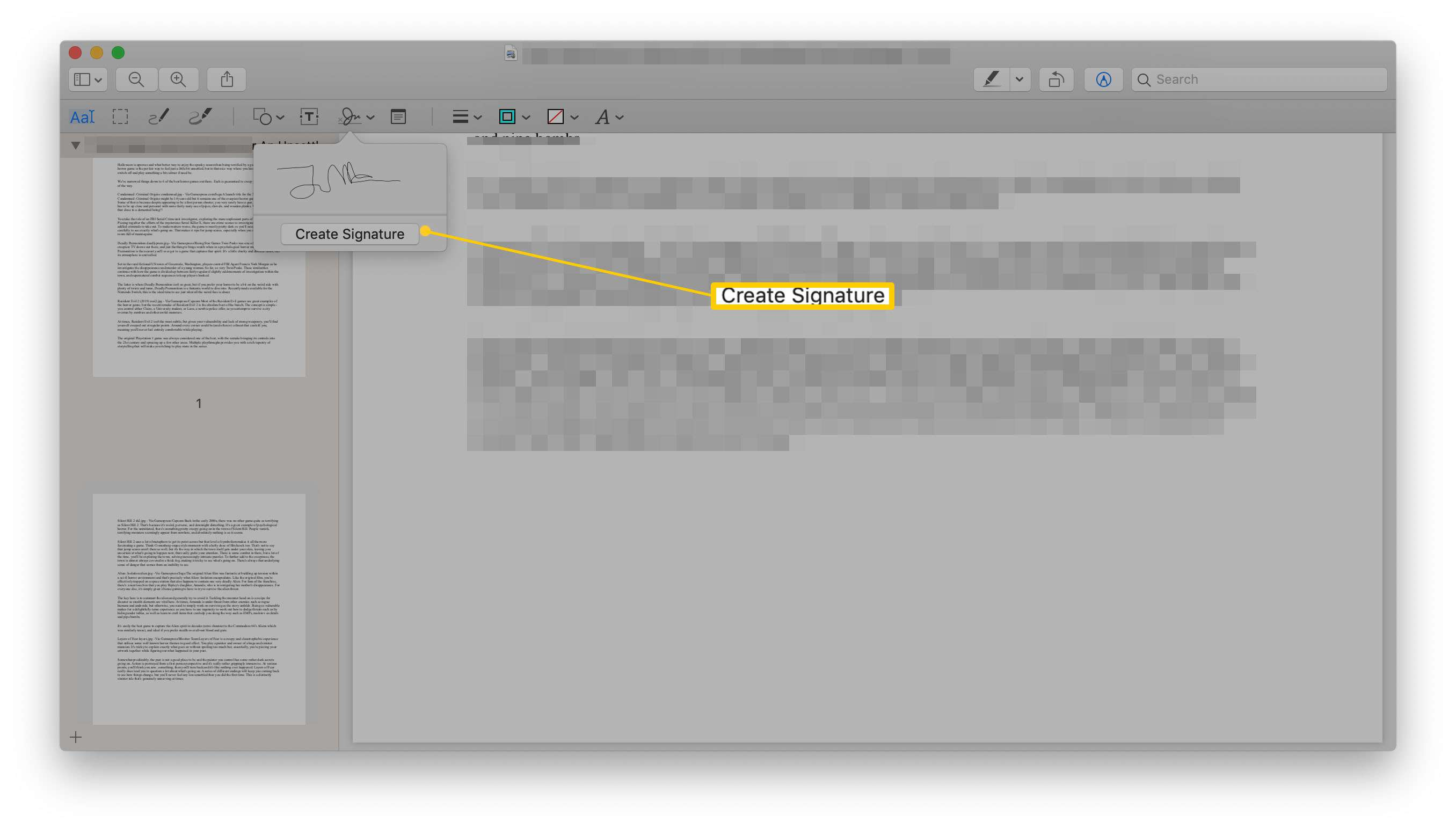 Preview app with Create Signature highlighted