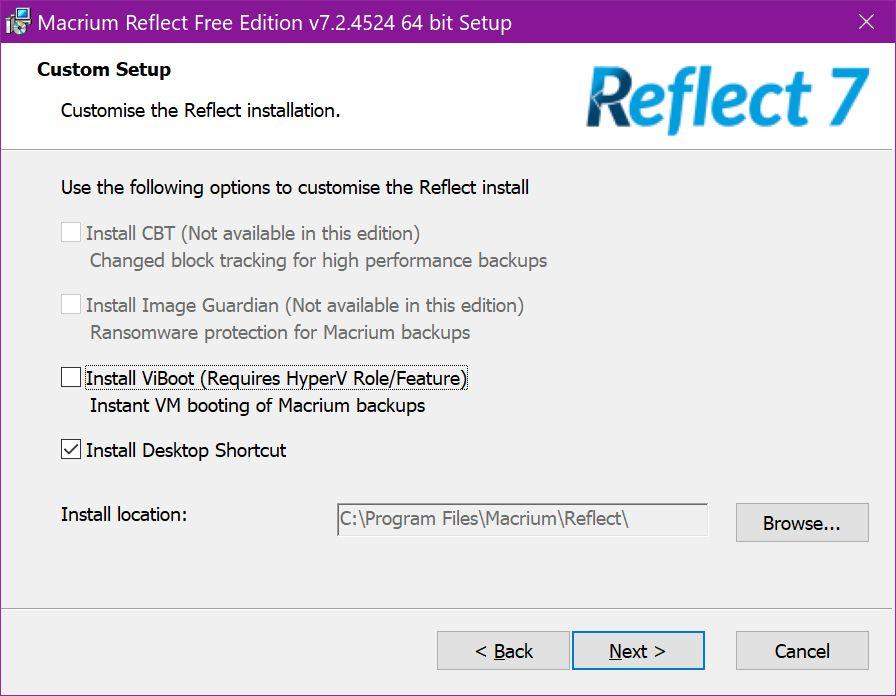 Macrium Reflect Free Edition Custom Setup