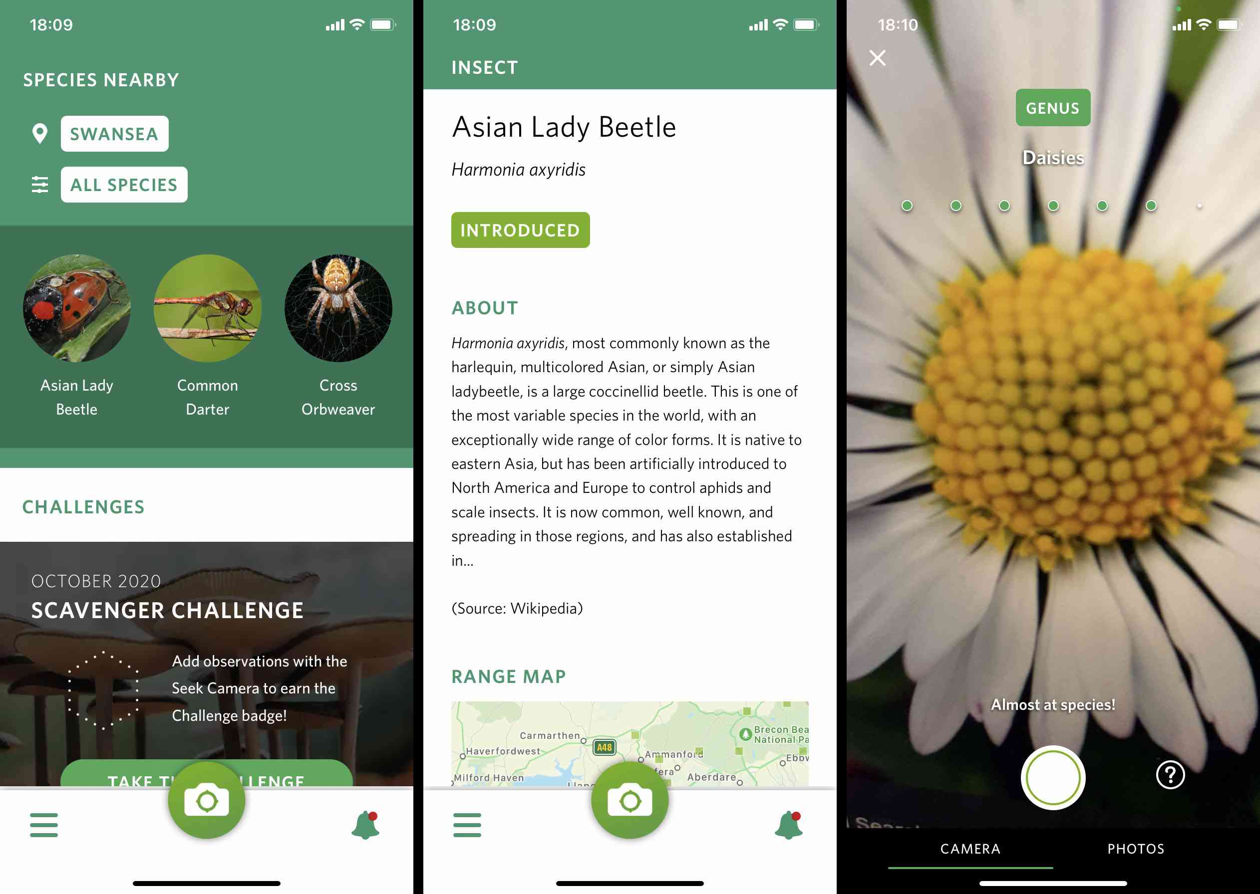 Seek iOS app screenshots
