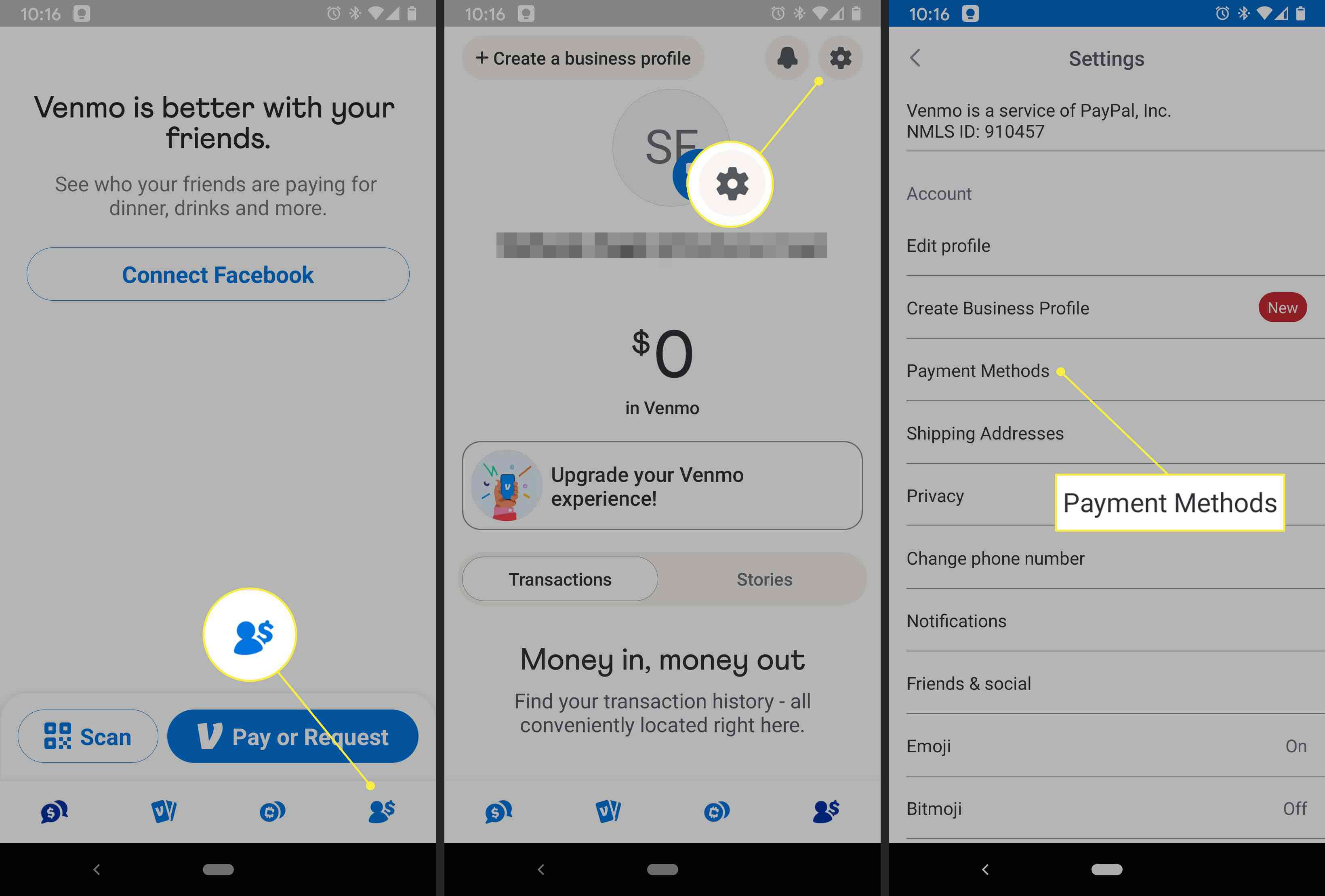 A Venmo user accesses the Payment Methods settings