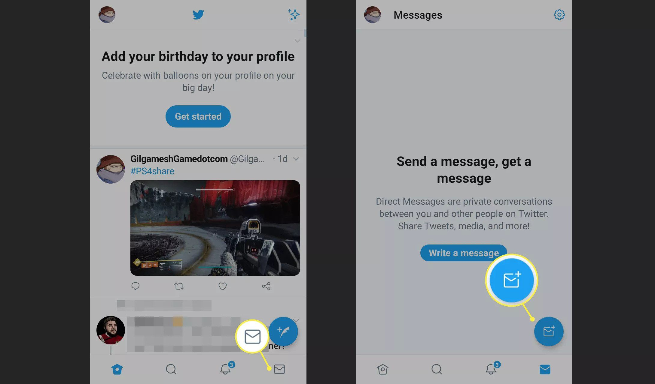 Mail and Send Message icons in the Twitter app
