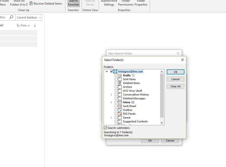 Screenshot of top personal folder selected