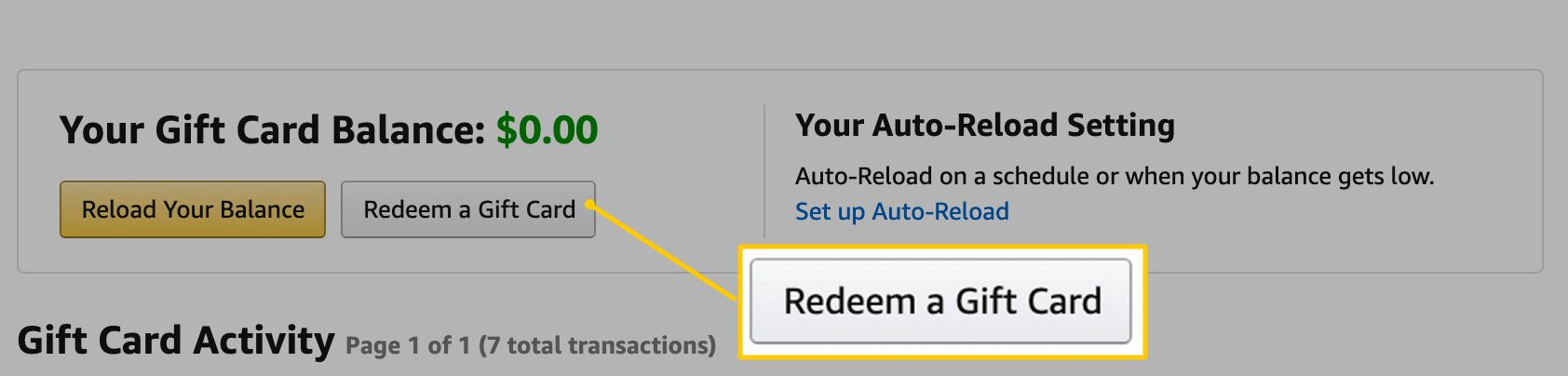 Redeem a Gift Card button on Amazon