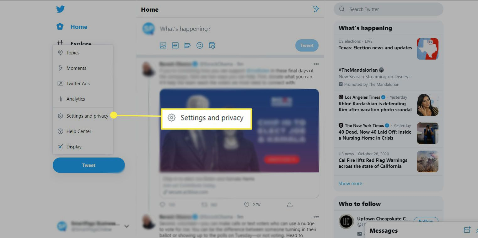 Twitter - select Settings and privacy