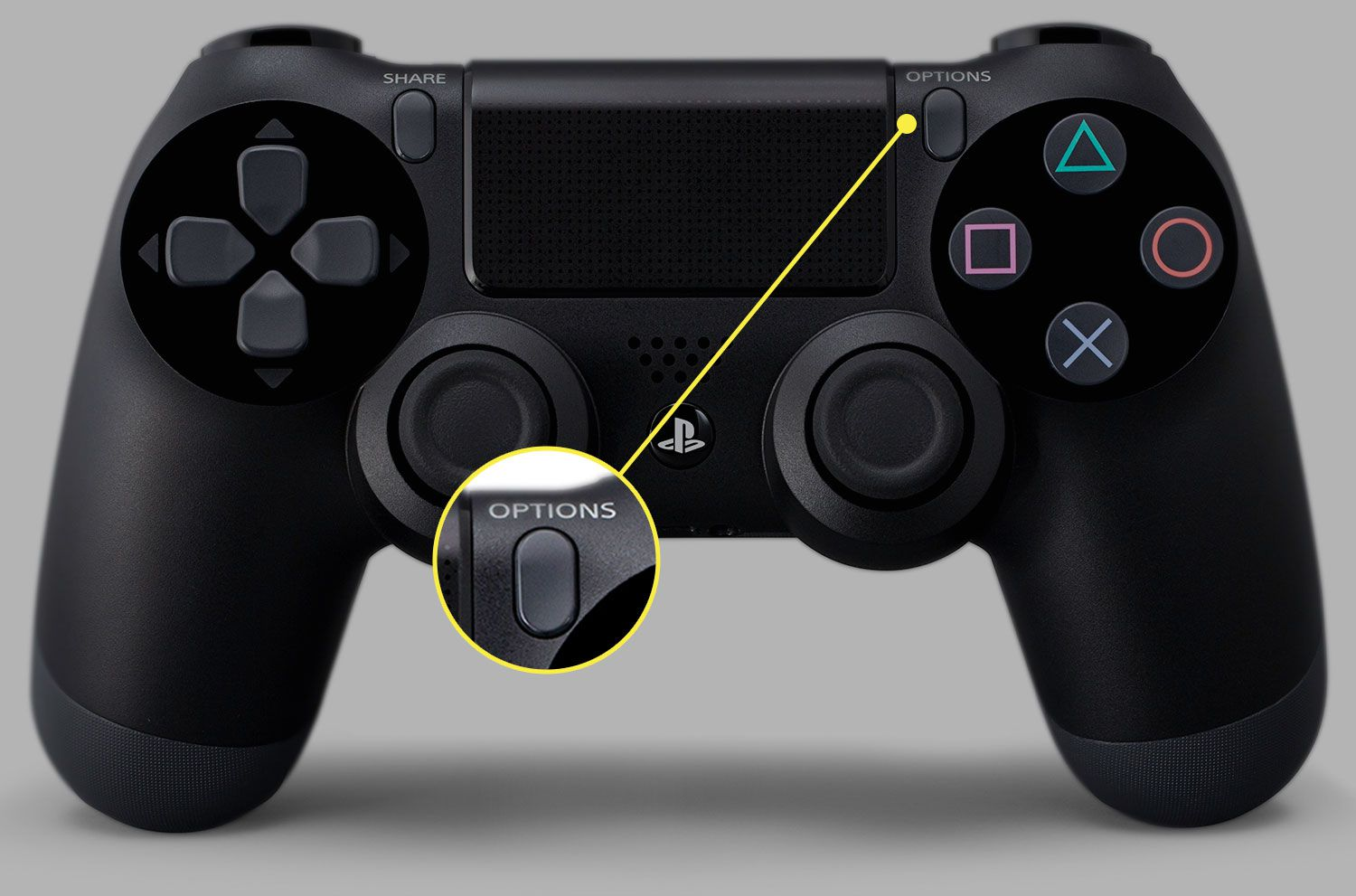 A DualShock 4 controller with the Options button highlighted