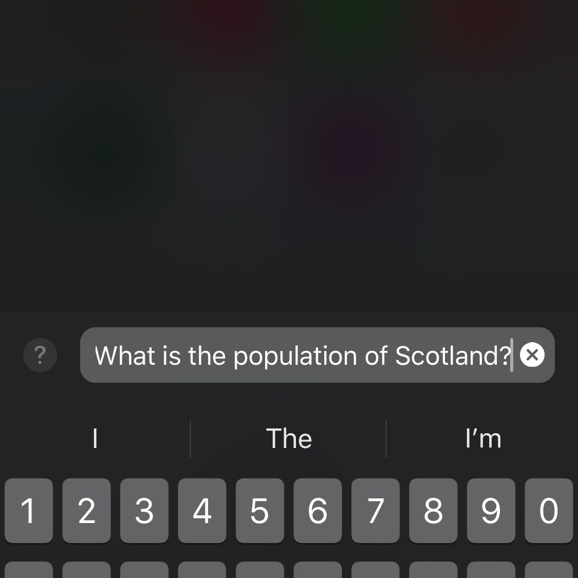 Screenshot of using the Type to Siri feature