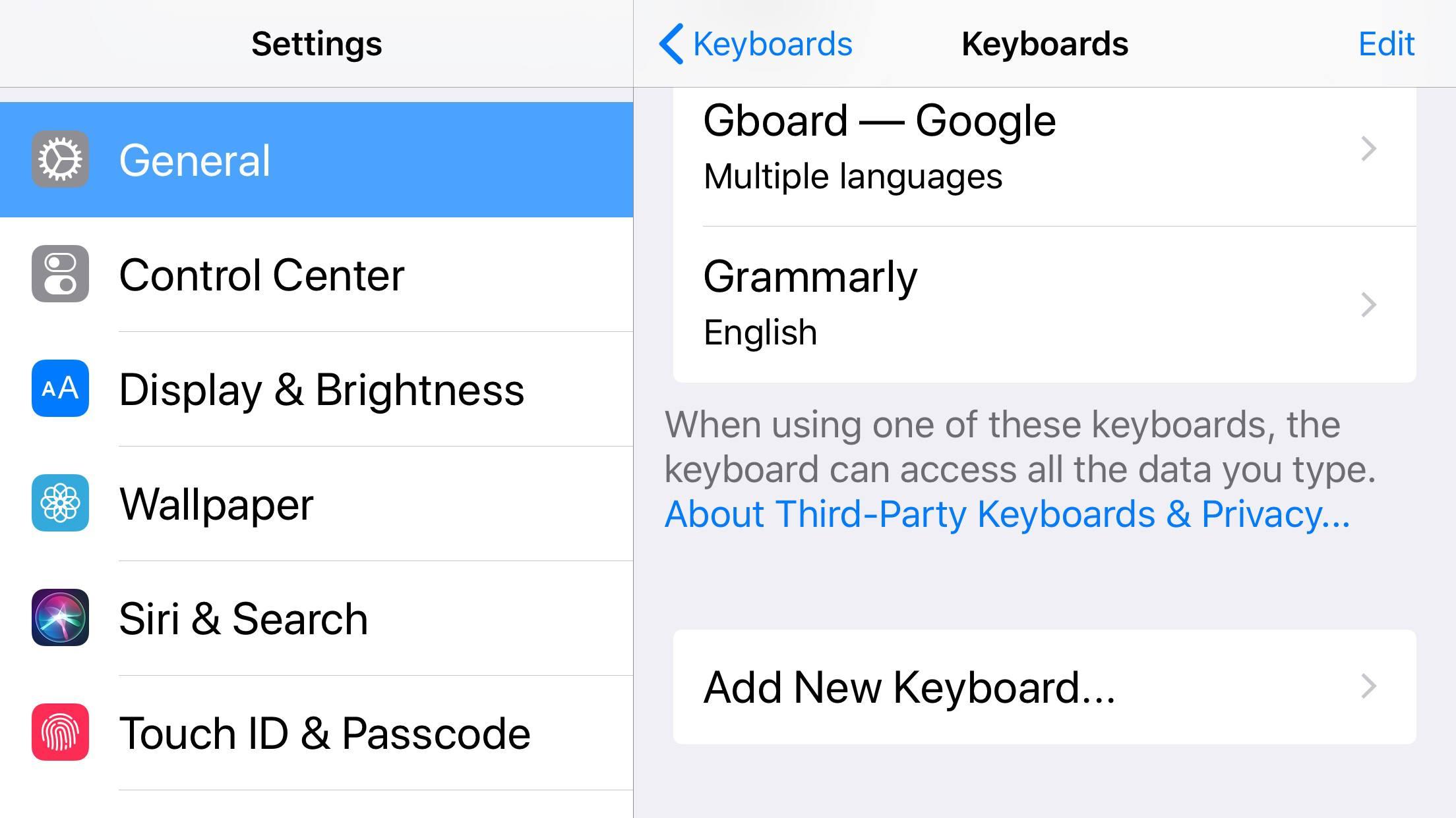 A screenshot of the iPhone keyboard settings