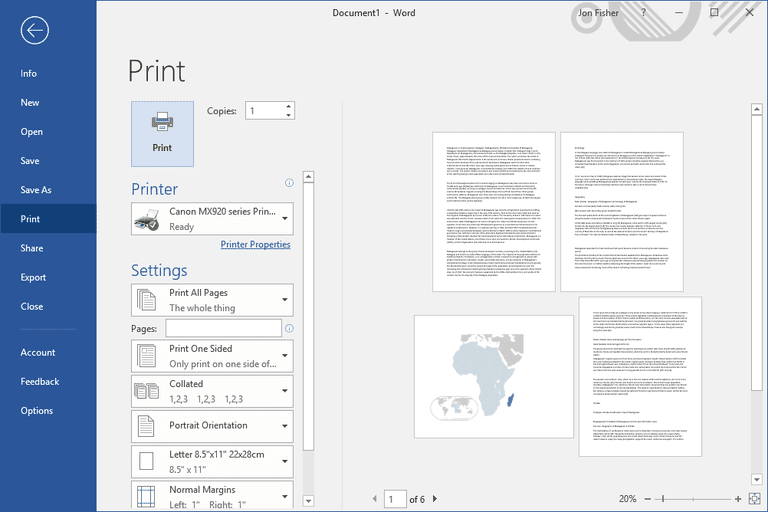 Different page orientation in Microsoft Word