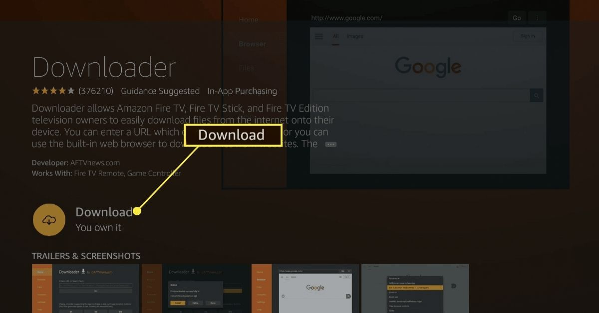 Download button on the Downloader app in the Fire TV app store.