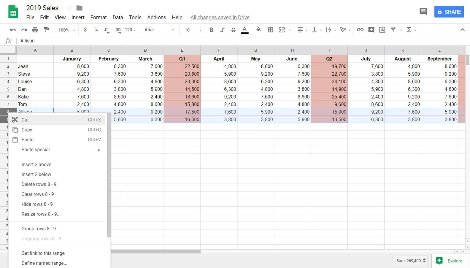 How to Hide or Unhide Rows in Google Sheets
