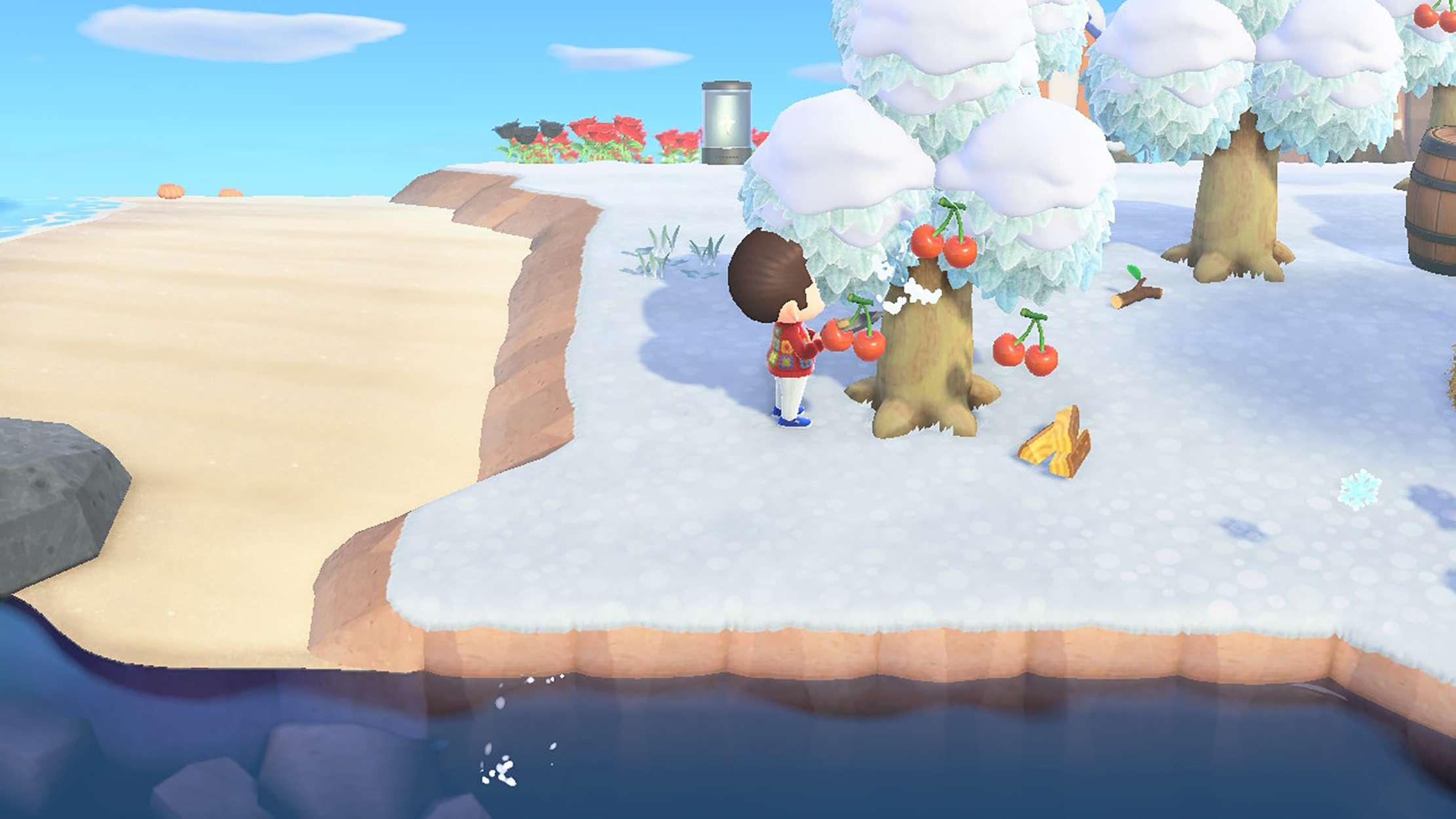 Screenshot of Animal Crossing New Horizons character chopping down a tree