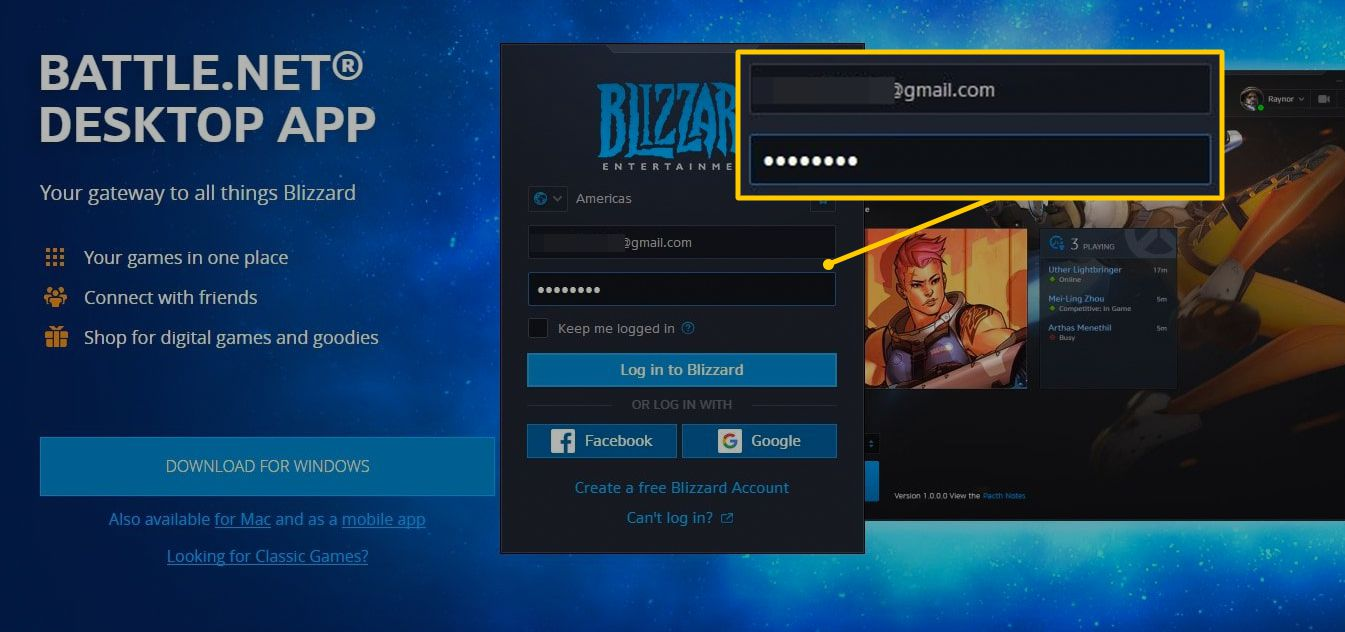 Blizzard account name and password fields