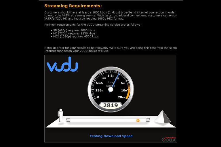 Vudu Internet Speed Test