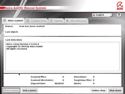 Avira Rescue System virus scanner