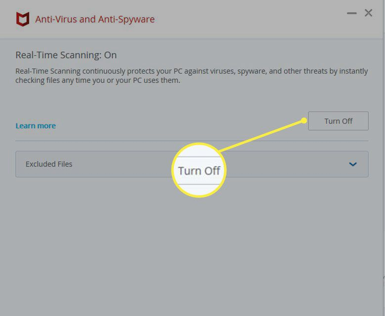 McAfee Total Protection Real-Time Scanning interface