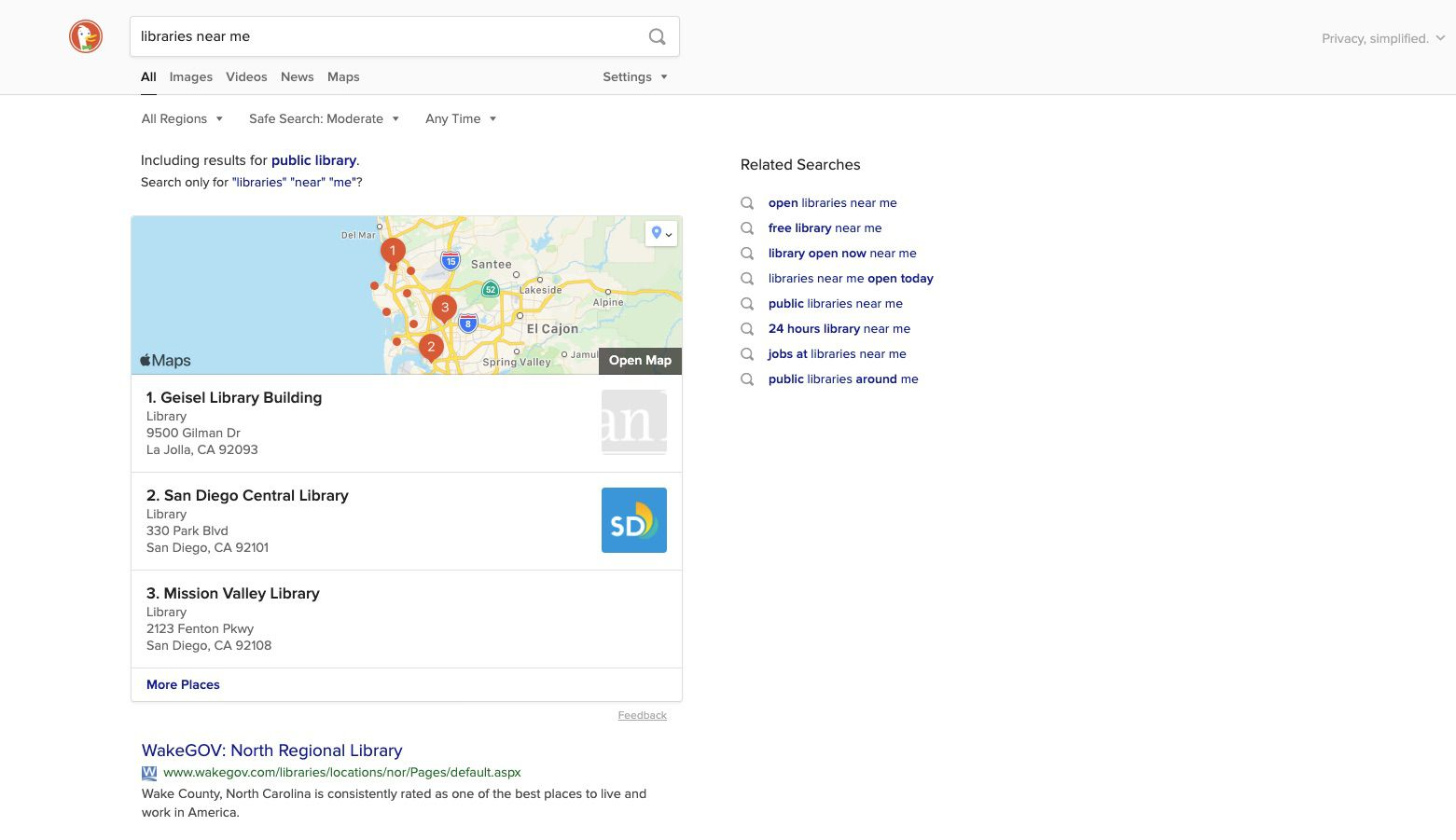 Select from your search results and find directions as usual.