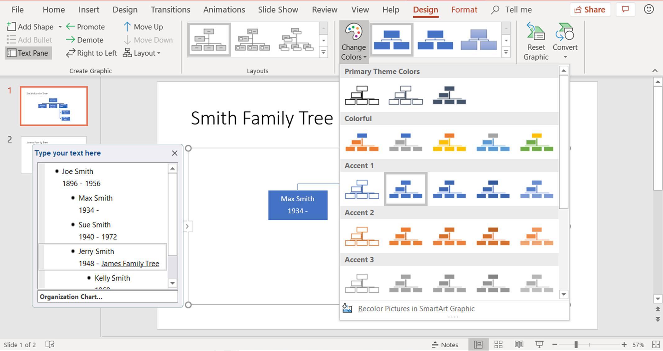 create family trees using powerpoint organization chart