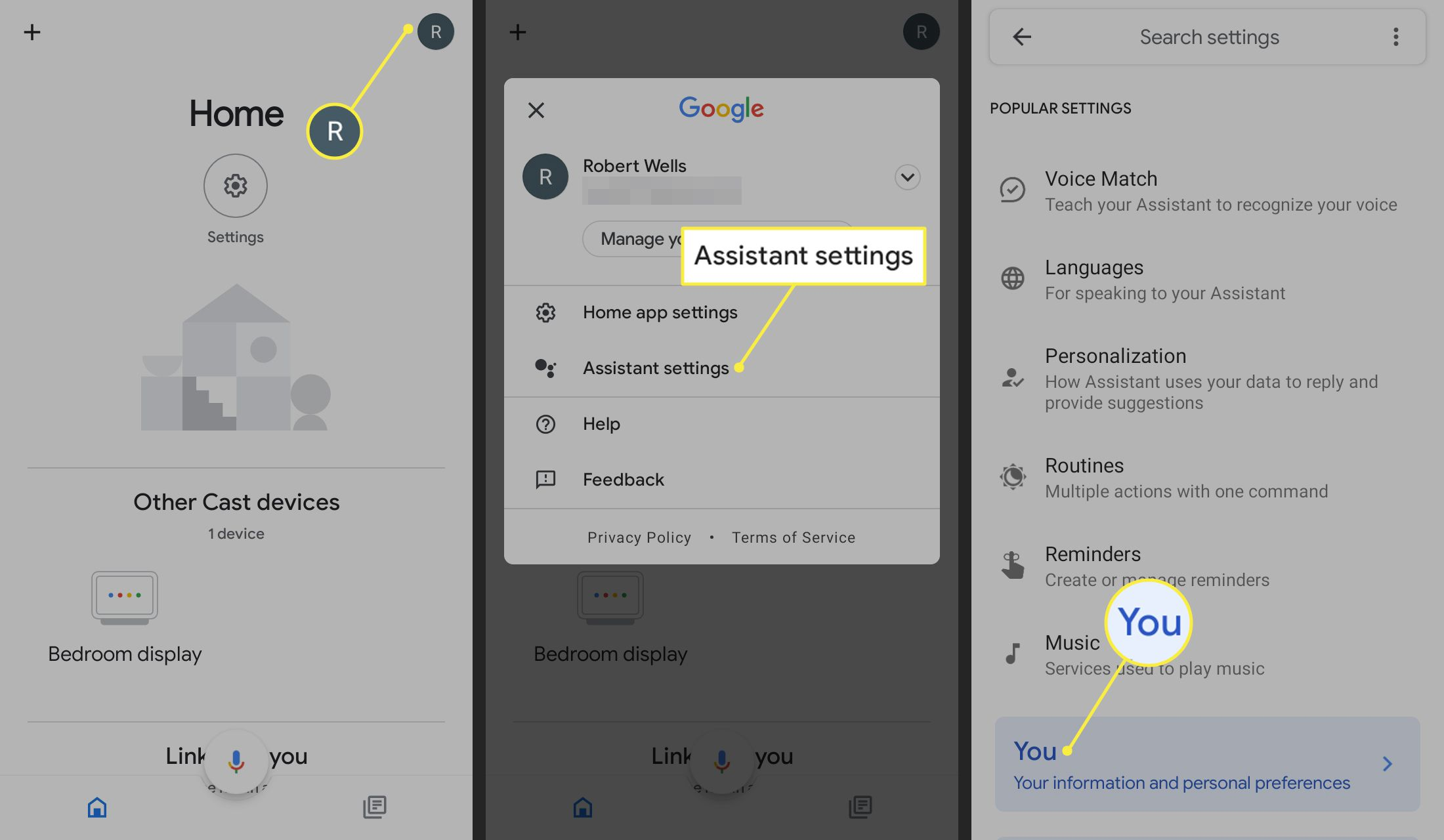 Profile icon, Assistant settings, and You highlighted in Google Home app