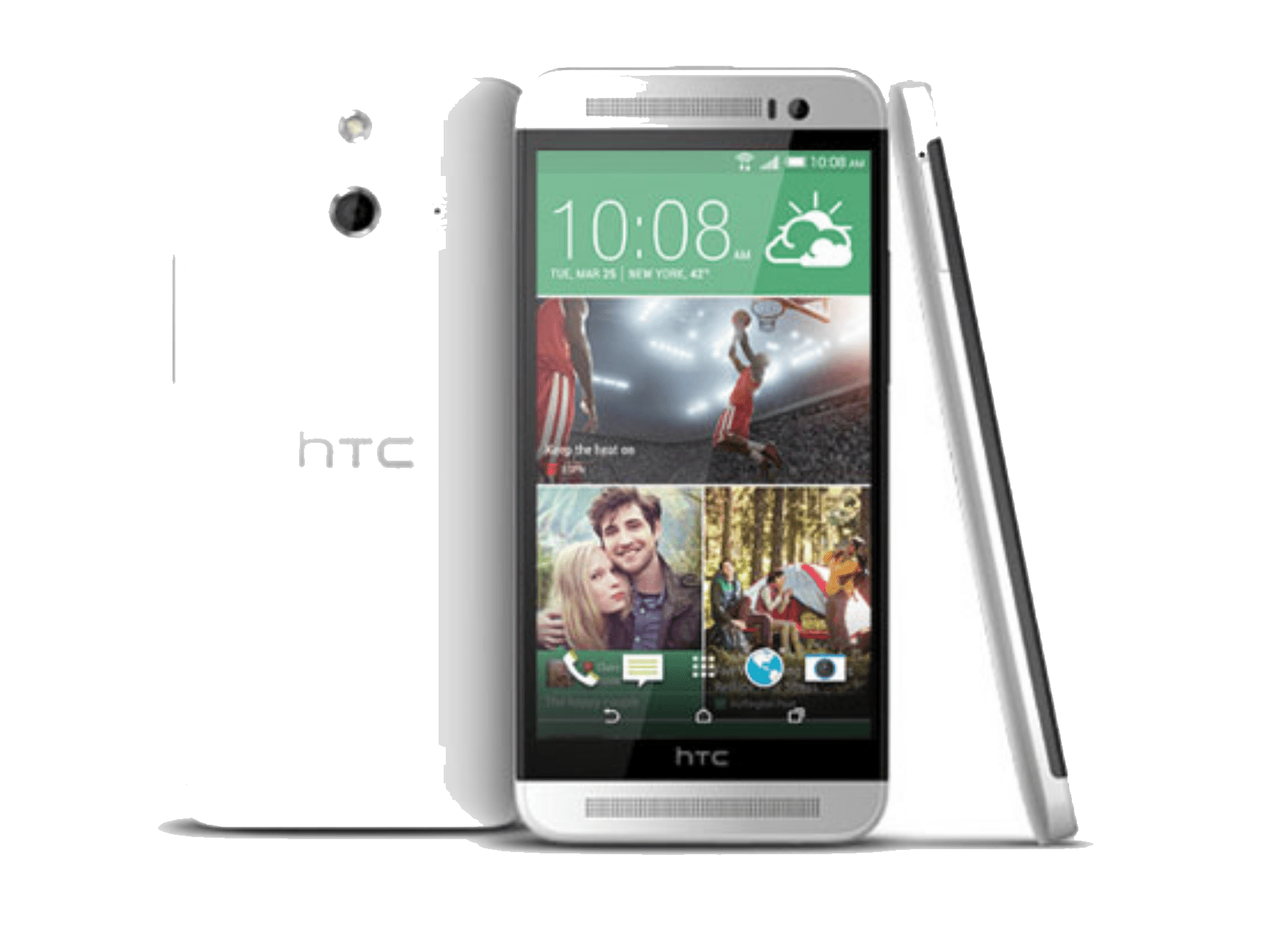 HTC One E8 smartphones, seen from back, front, and side