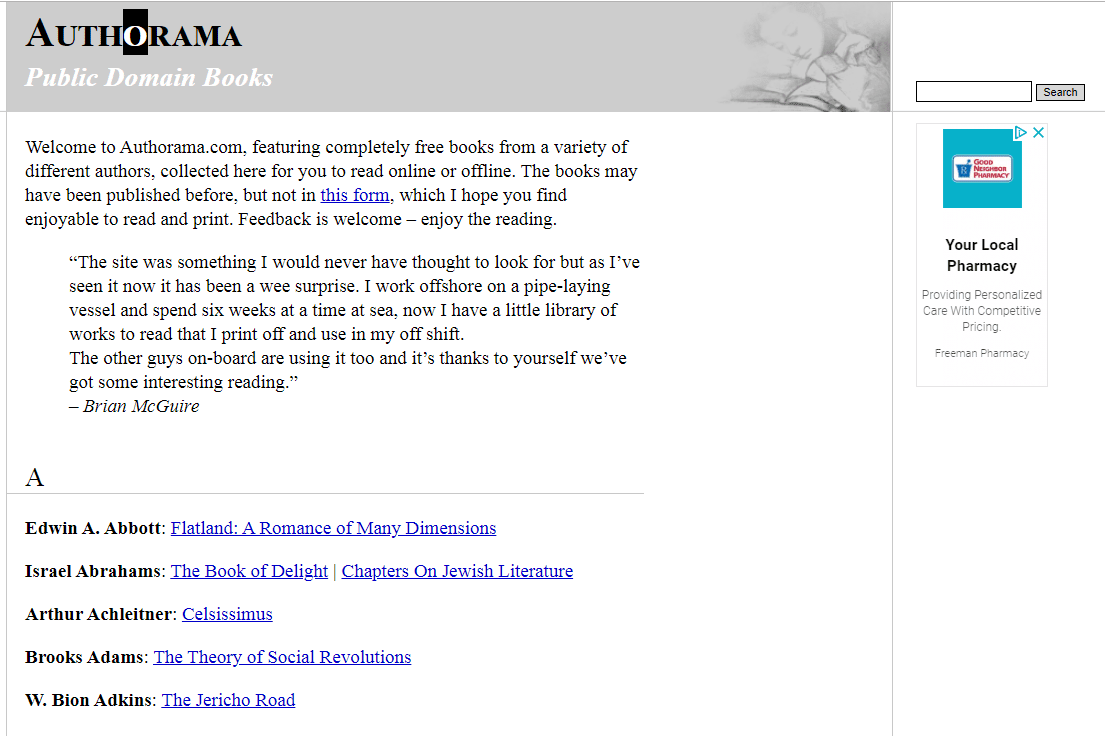 Authorama free book library