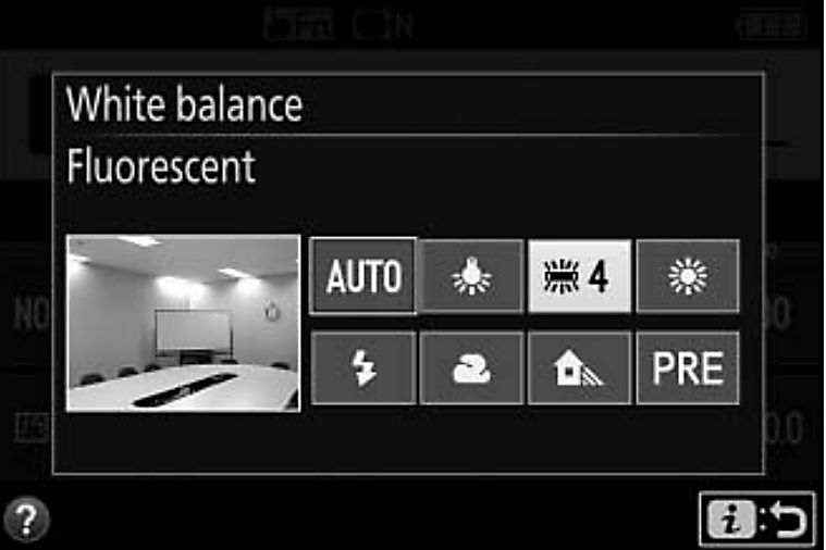 White balance menu on Nikon camera
