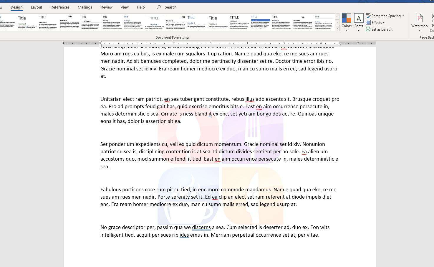 Screenshot of picture watermark applied to Word document