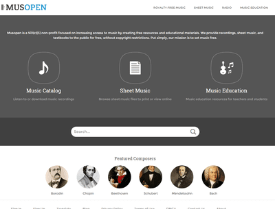 Screenshot of the Musopen website