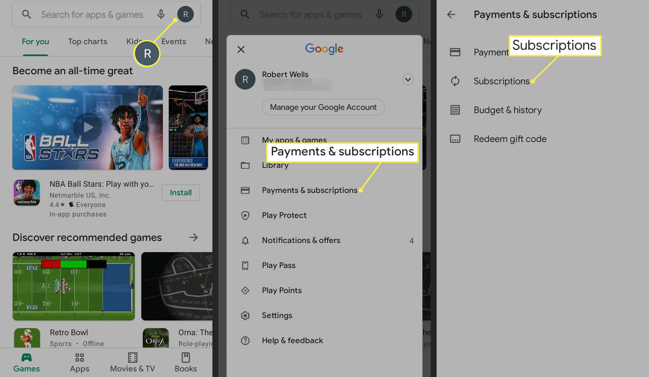 Profile icon, Payments and Subscriptions, and Subscriptions in Google Play