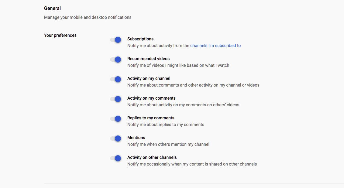 YouTube Notification preferences