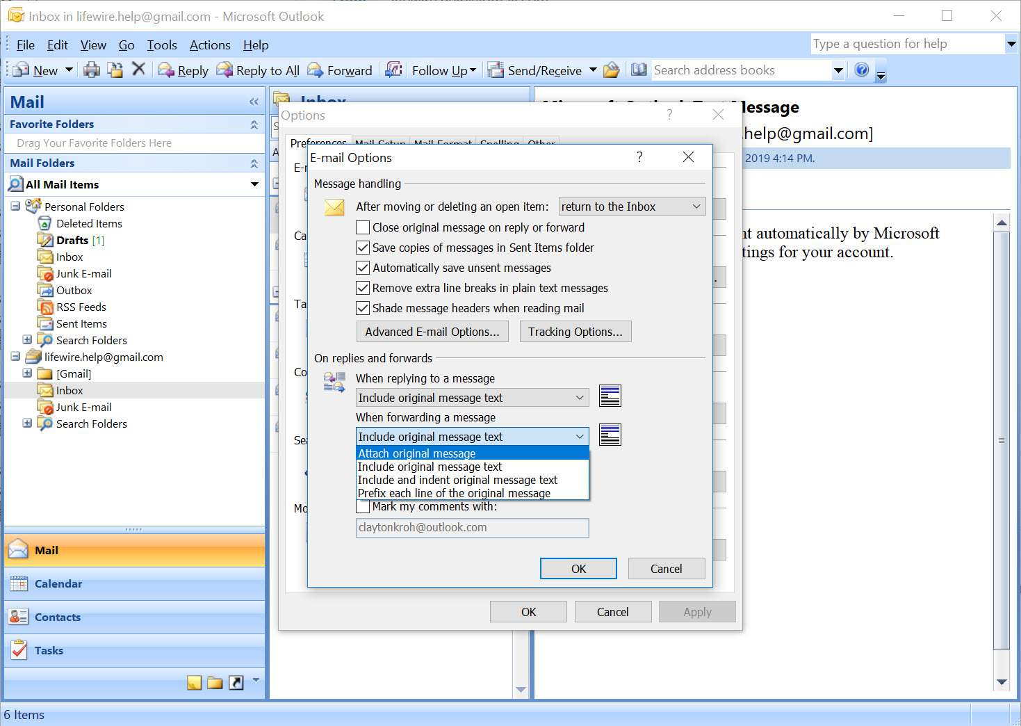 Outlook 2007 E-mail Options window with default dropdown