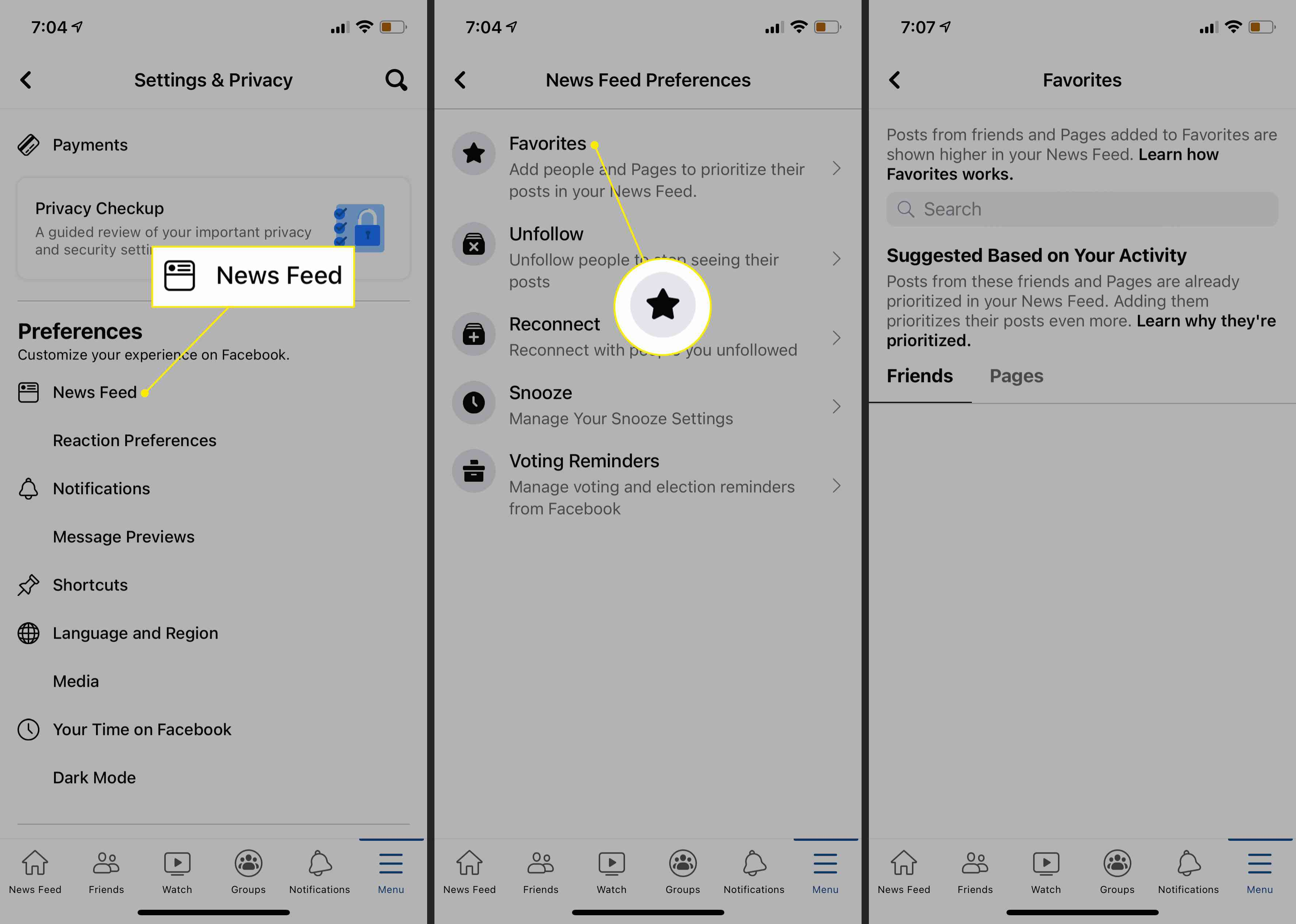 News Feed and Favorites settings in the Facebook iOS app