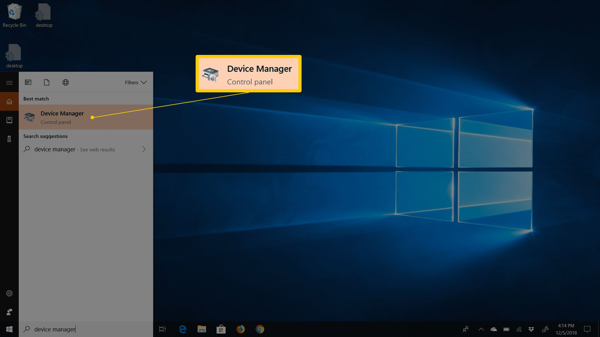 Device Manager in Start menu on Windows 10
