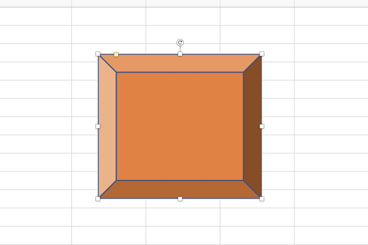 Screenshot of Excel showing a shape with sizing handles