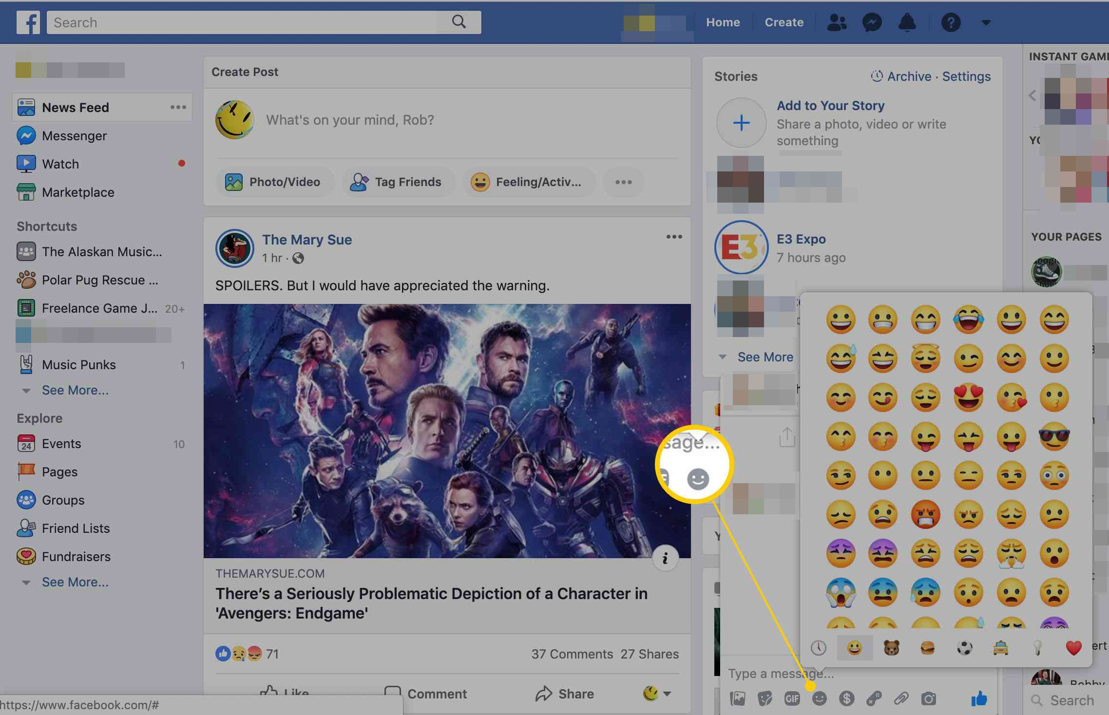 SMiley icon in Facebook Messenger