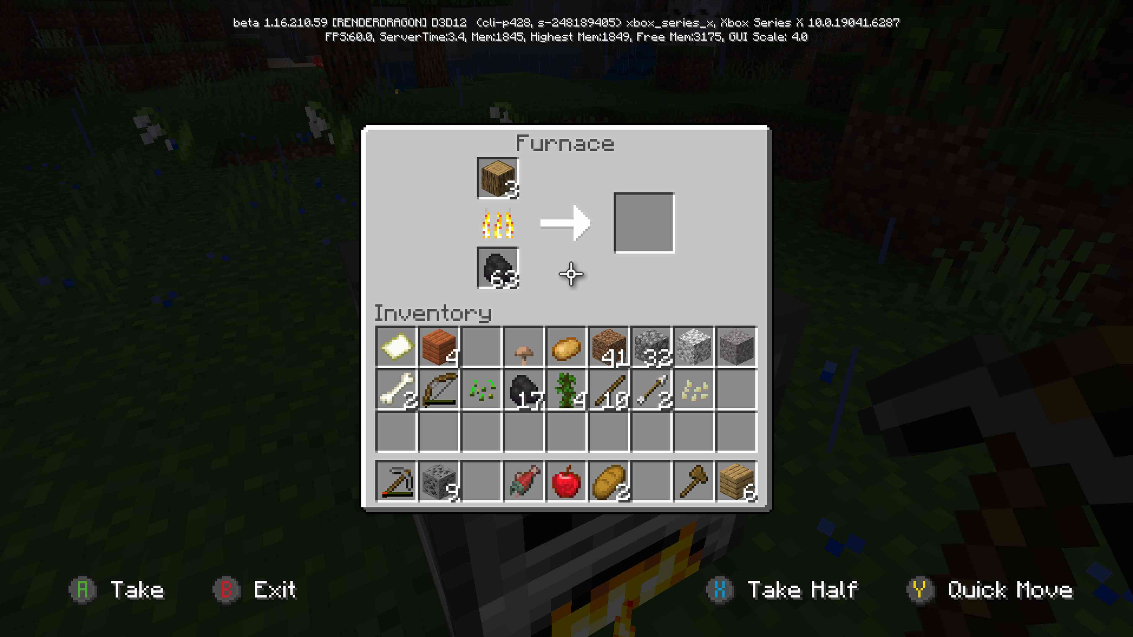 Furnace crafting grid while the flames progress bar grows to indicate fuel is being produced