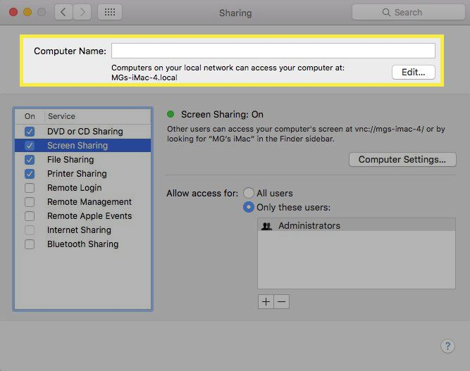 Editing a Mac computer's address for sharing purposes