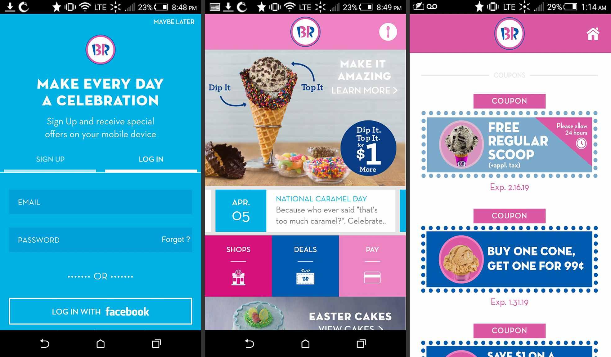 Baskin Robbins app on Android
