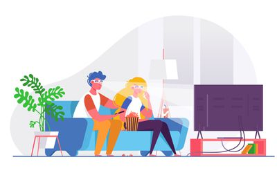 Illustration of couple watching 3D TV in livingroom