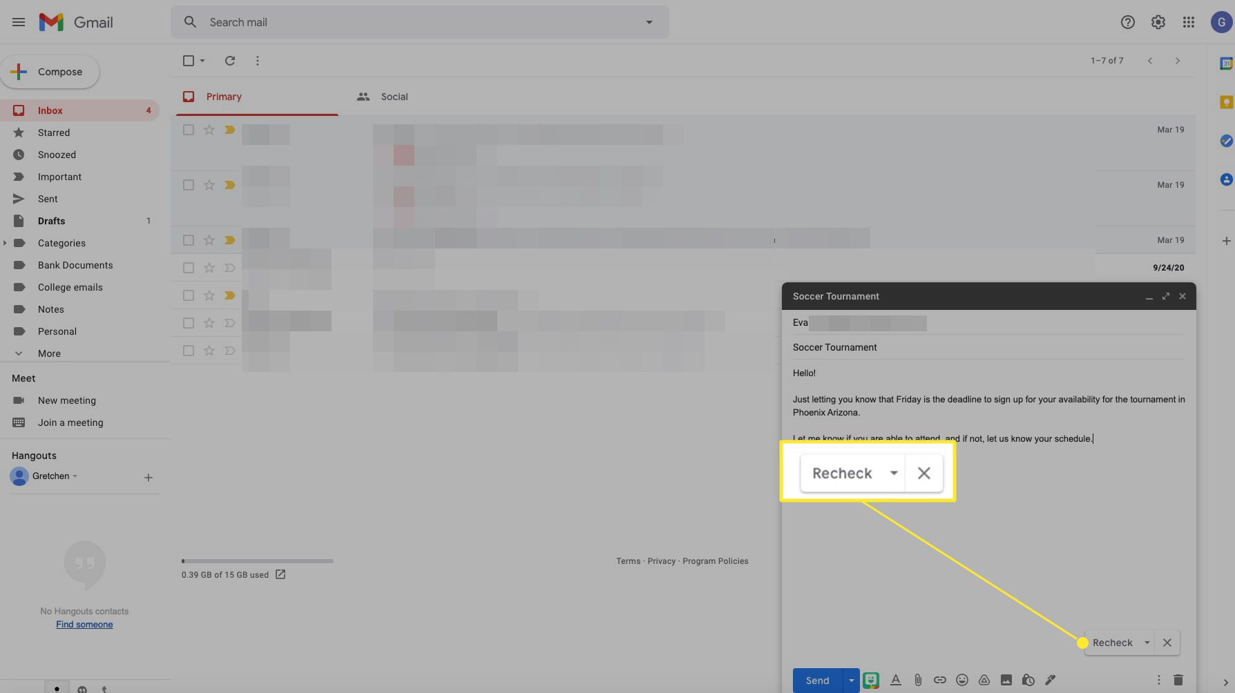 Gmail spell check options with Recheck highlighted