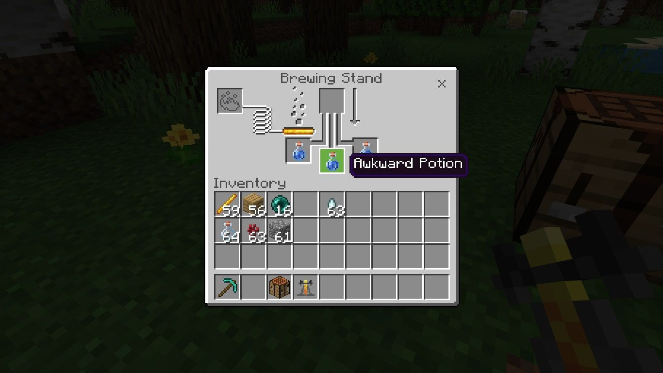 An Awkward Potion in the Minecraft brewing menu