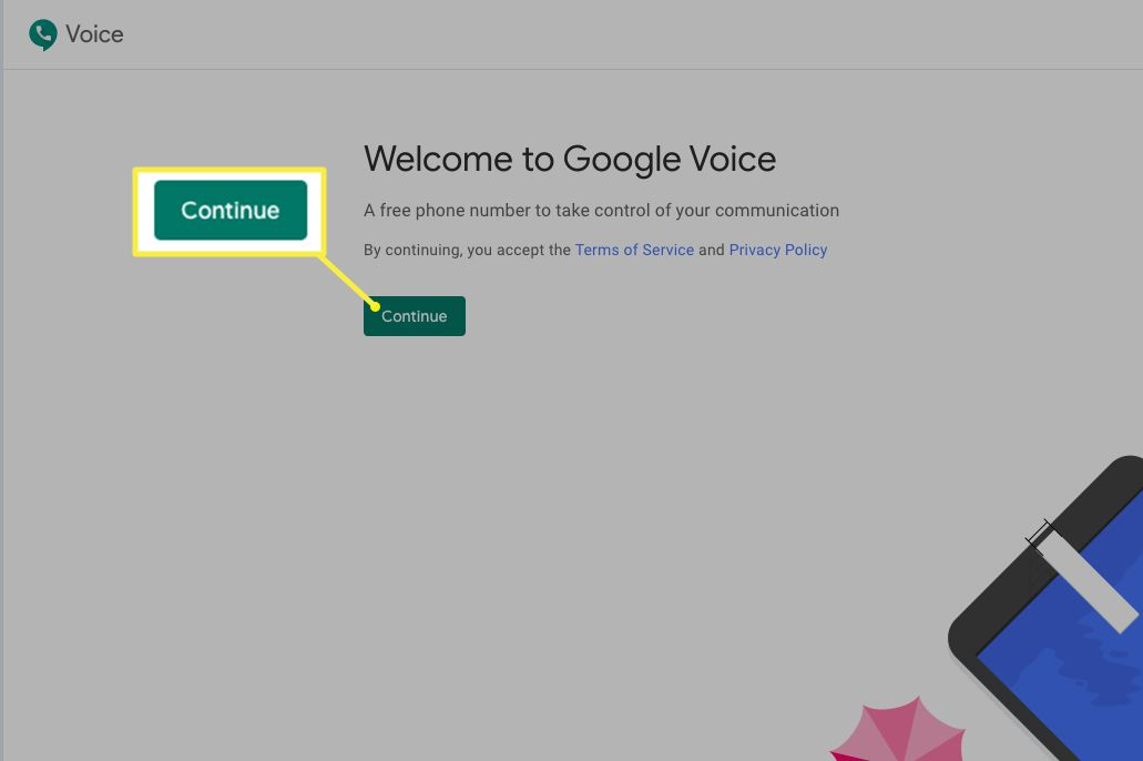 Google Voice welcome page with Continue button highlighted