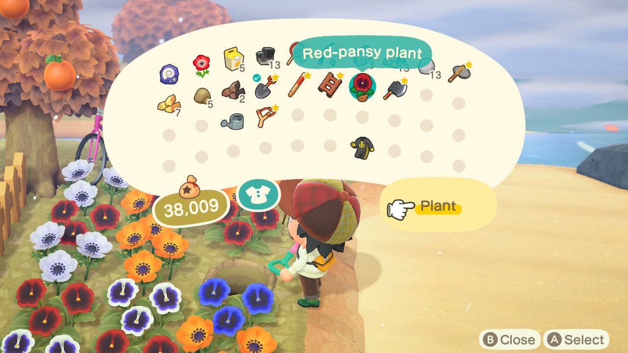 Animal Crossing character with flower in inventory