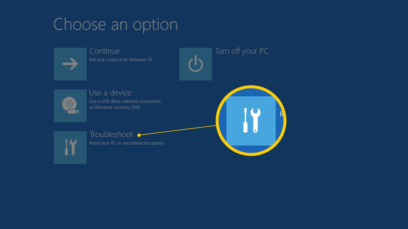 Troubleshoot button in Advanced Startup Options